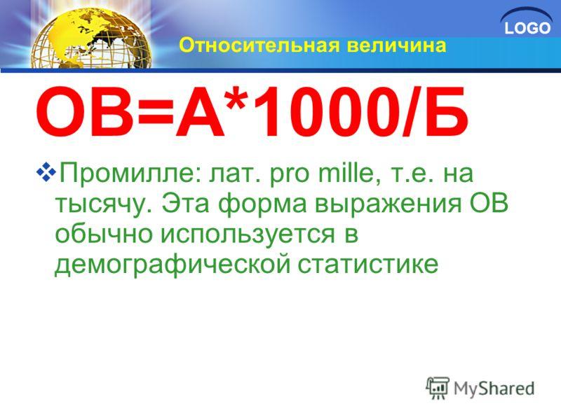 LOGO Относительная величина ОВ=А*1000/Б Промилле: лат. pro mille, т.е. на тысячу. Эта форма выражения ОВ обычно используется в демографической статистике