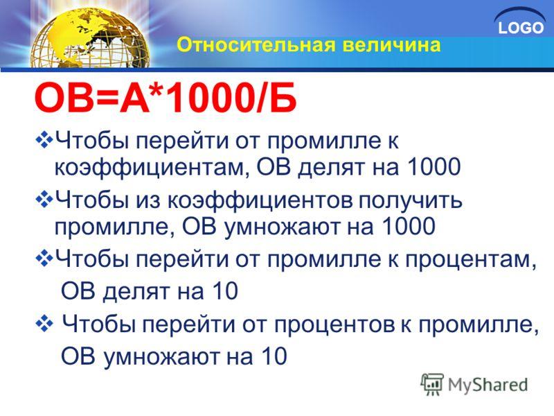 LOGO Относительная величина ОВ=А*1000/Б Чтобы перейти от промилле к коэффициентам, ОВ делят на 1000 Чтобы из коэффициентов получить промилле, ОВ умножают на 1000 Чтобы перейти от промилле к процентам, ОВ делят на 10 Чтобы перейти от процентов к проми
