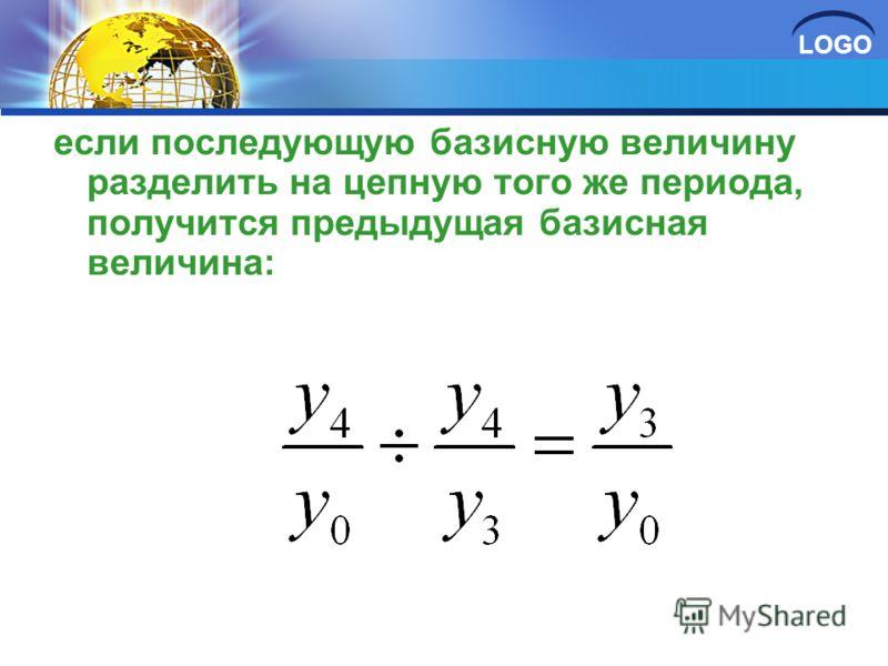 LOGO если последующую базисную величину разделить на цепную того же периода, получится предыдущая базисная величина: