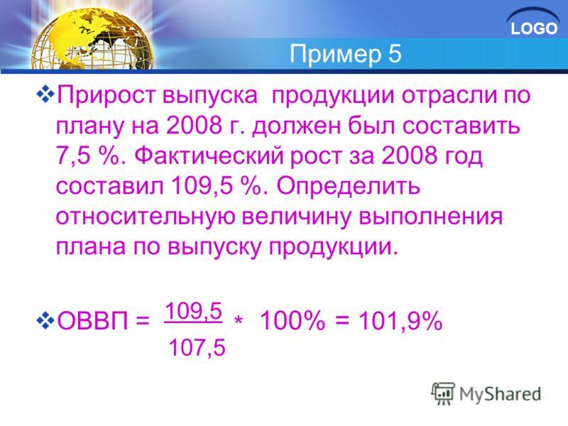 LOGO Пример 5 Прирост выпуска продукции отрасли по плану на 2008 г. должен был составить 7,5 %. Фактический рост за 2008 год составил 109,5 %. Определить относительную величину выполнения плана по выпуску продукции. ОВВП = 109,5 * 100% = 101,9% 107,5