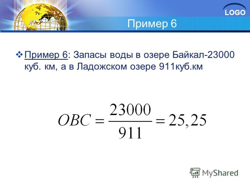 LOGO Пример 6 Пример 6: Запасы воды в озере Байкал-23000 куб. км, а в Ладожском озере 911куб.км