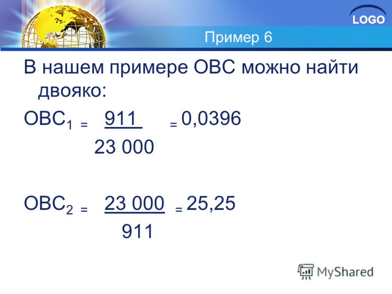 LOGO Пример 6 В нашем примере ОВС можно найти двояко: ОВС 1 = 911 = 0,0396 23 000 ОВС 2 = 23 000 = 25,25 911