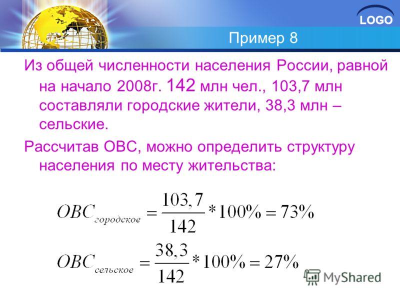 LOGO Пример 8 Из общей численности населения России, равной на начало 2008г. 142 млн чел., 103,7 млн составляли городские жители, 38,3 млн – сельские. Рассчитав ОВС, можно определить структуру населения по месту жительства: