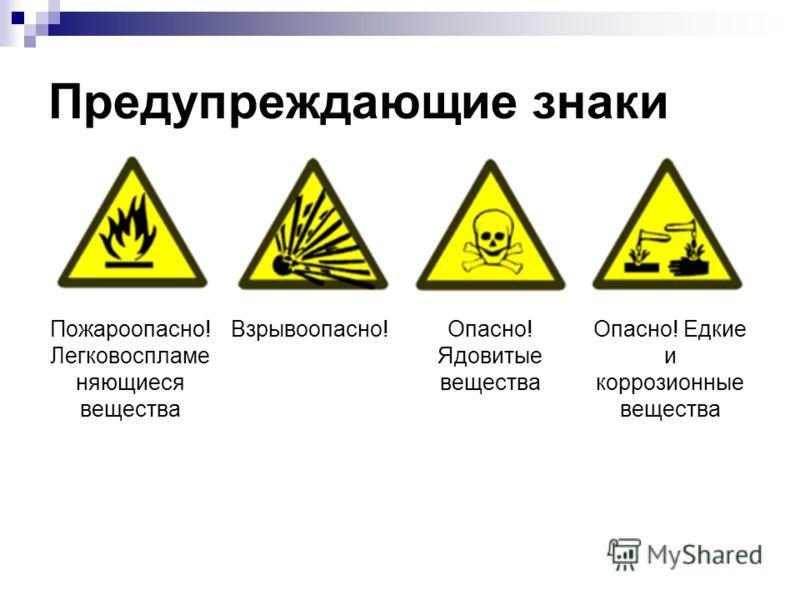 Предупреждающие знаки Пожароопасно! Легковоспламе няющиеся вещества Взрывоопасно!Опасно! Ядовитые вещества Опасно! Едкие и коррозионные вещества
