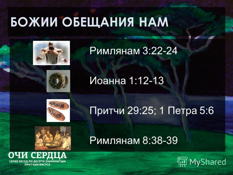 БОЖИИ ОБЕЩАНИЯ НАМ Римлянам 3:22-24 Иоанна 1:12-13 Притчи 29:25; 1 Петра 5:6 Римлянам 8:38-39