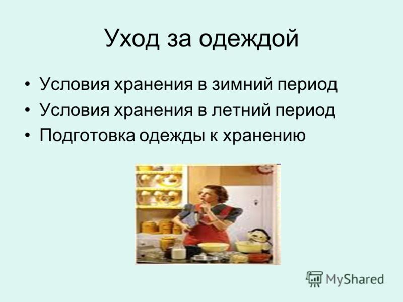 Уход за одеждой Условия хранения в зимний период Условия хранения в летний период Подготовка одежды к хранению