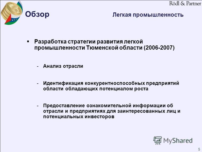 5 Обзор Легкая промышленность Разработка стратегии развития легкой промышленности Тюменской области (2006-2007) -Анализ отрасли -Идентификация конкурентноспособных предприятий области обладающих потенциалом роста -Предоставление ознакомительной инфор