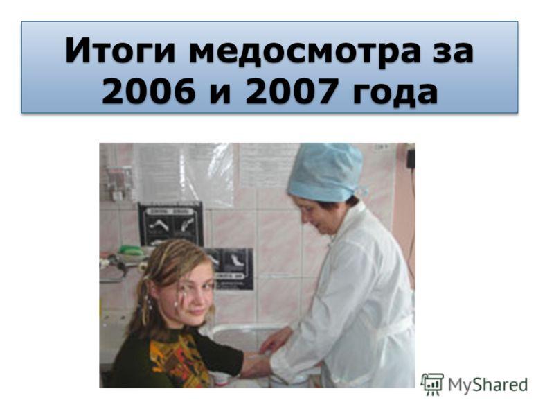 Итоги медосмотра за 2006 и 2007 года