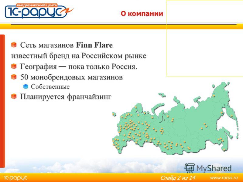 Слайд 2 из 14 О компании Сеть магазинов Finn Flare известный бренд на Российском рынке География пока только Россия. 50 монобрендовых магазинов Собственные Планируется франчайзинг