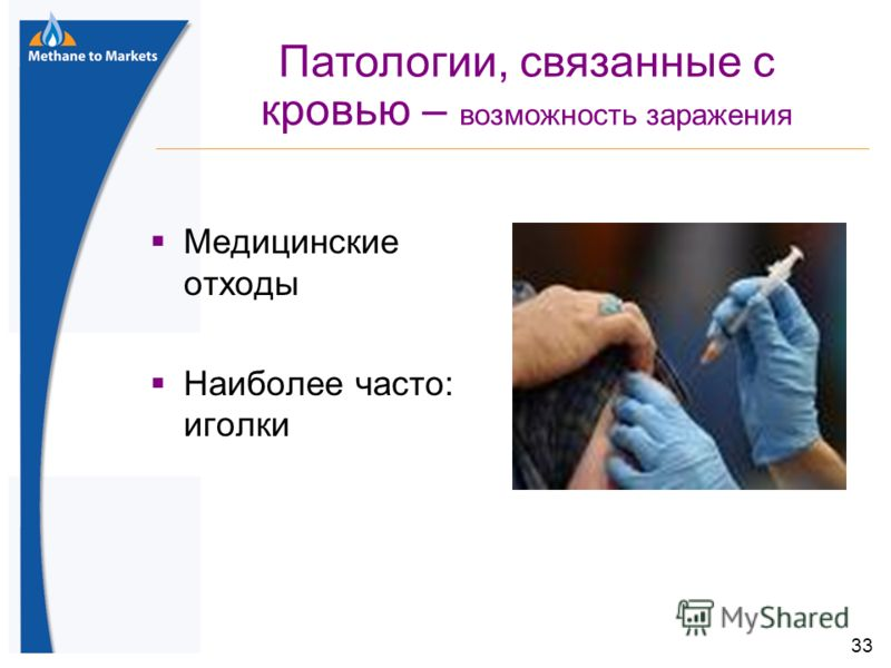 33 Медицинские отходы Наиболее часто: иголки Патологии, связанные с кровью – возможность заражения