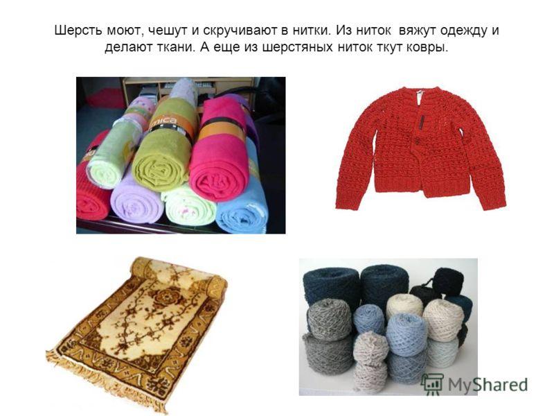 Шерсть моют, чешут и скручивают в нитки. Из ниток вяжут одежду и делают ткани. А еще из шерстяных ниток ткут ковры.