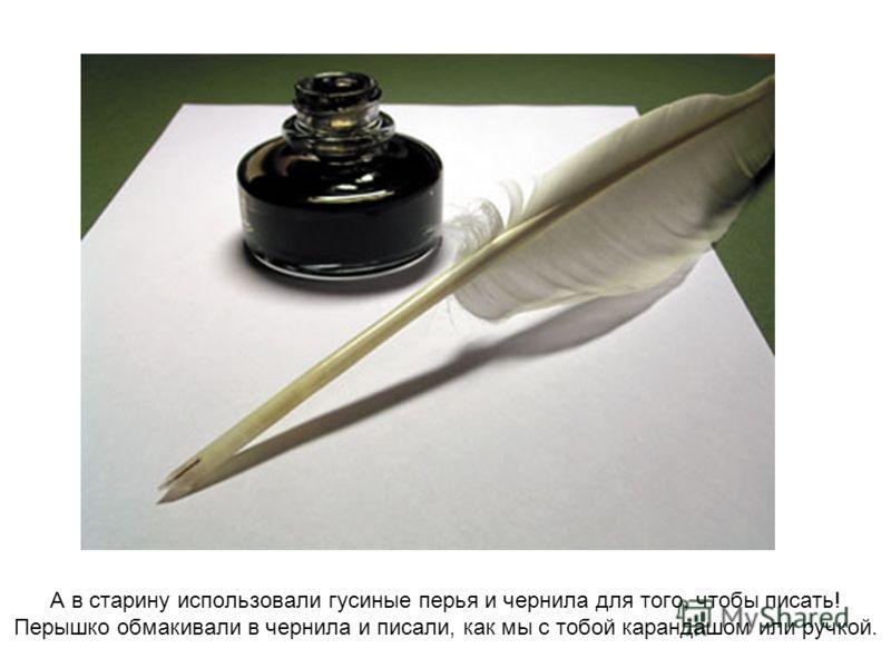 А в старину использовали гусиные перья и чернила для того, чтобы писать! Перышко обмакивали в чернила и писали, как мы с тобой карандашом или ручкой.