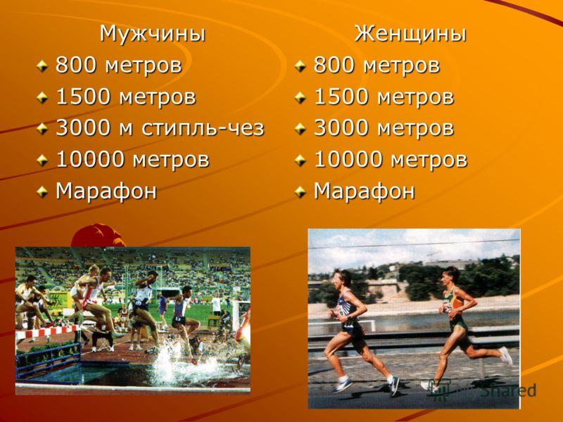 Мужчины 800 метров 1500 метров 3000 м стипль-чез 10000 метров МарафонЖенщины 800 метров 1500 метров 3000 метров 10000 метров Марафон