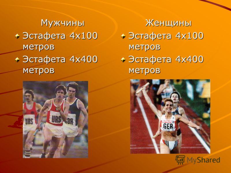 Мужчины Эстафета 4х100 метров Эстафета 4х400 метров Женщины Эстафета 4х100 метров Эстафета 4х400 метров
