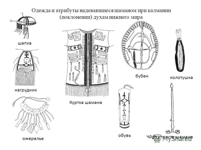 Одежда и атрибуты надевавшиеся шаманом при калмании (поклонении) духам нижнего мира Куртка шамана бубен колотушка шапка нагрудник ожерелье обувь Чйрэ - трость шамана