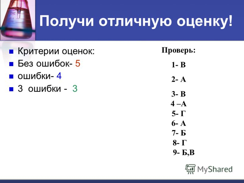 Получи отличную оценку! Критерии оценок: Без ошибок- 5 ошибки- 4 3 ошибки - 3 Проверь: 1- В 2- А 3- В 4 –А 5- Г 6- А 7- Б 8- Г 9- Б,В