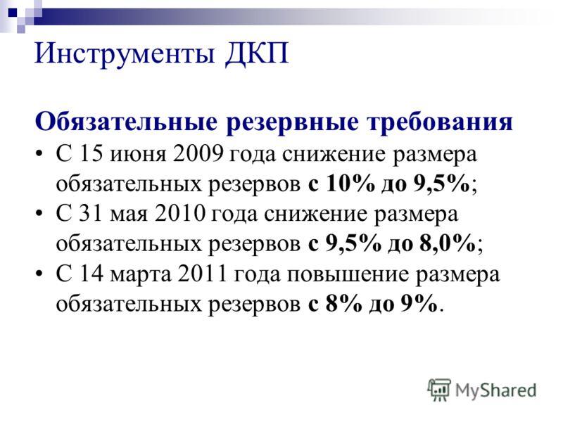 Обязательные резервные требования С 15 июня 2009 года снижение размера обязательных резервов с 10% до 9,5%; С 31 мая 2010 года снижение размера обязательных резервов с 9,5% до 8,0%; С 14 марта 2011 года повышение размера обязательных резервов с 8% до