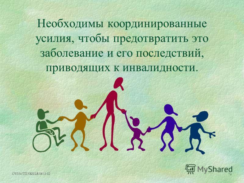 CW554/TTI/NKS/LR/06/13/02 74 Необходимы координированные усилия, чтобы предотвратить это заболевание и его последствий, приводящих к инвалидности.