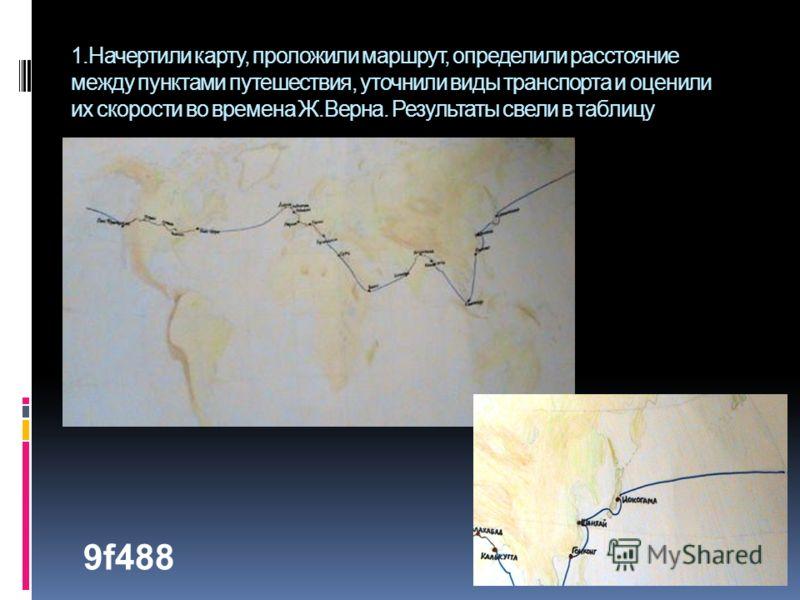 1.Начертили карту, проложили маршрут, определили расстояние между пунктами путешествия, уточнили виды транспорта и оценили их скорости во времена Ж.Верна. Результаты свели в таблицу 9f488