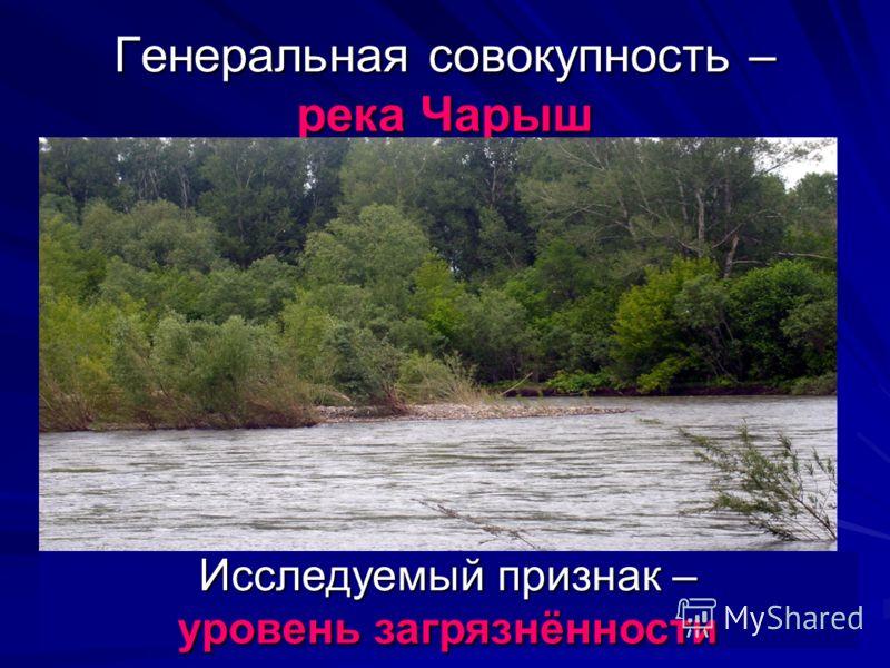 Генеральная совокупность – река Чарыш Исследуемый признак – уровень загрязнённости