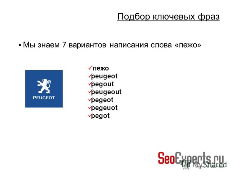 Подбор ключевых фраз Мы знаем 7 вариантов написания слова «пежо» пежо peugeot pegout peugeout pegeot pegeuot pegot