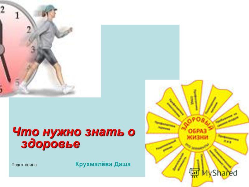 Что нужно знать о здоровье Подготовила Крухмалёва Даша