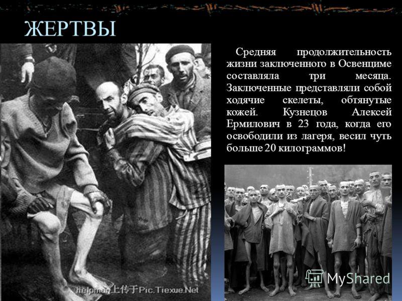 ЖЕРТВЫ Средняя продолжительность жизни заключенного в Освенциме составляла три месяца. Заключенные представляли собой ходячие скелеты, обтянутые кожей. Кузнецов Алексей Ермилович в 23 года, когда его освободили из лагеря, весил чуть больше 20 килогра