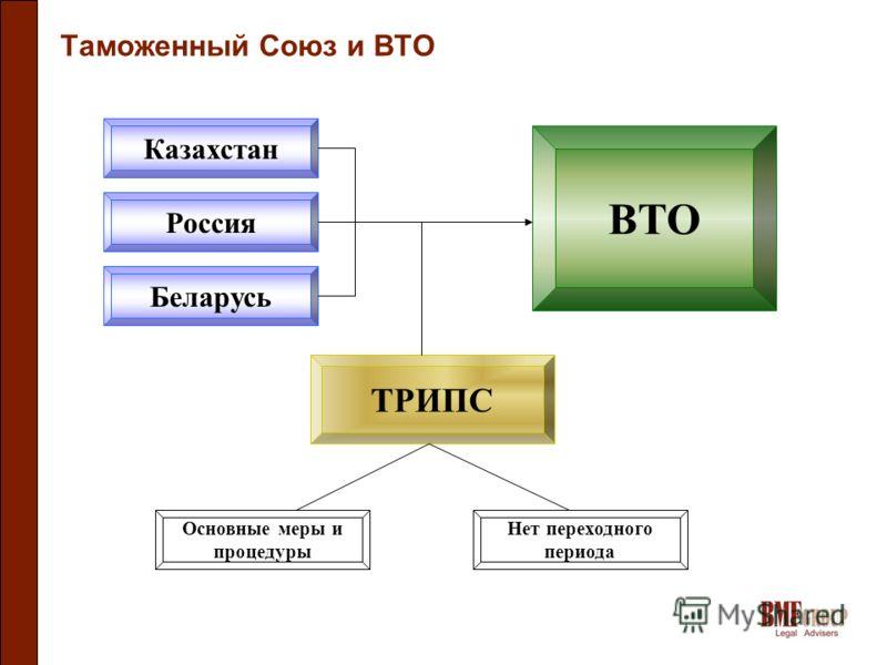 Таможенный Союз и ВТО Казахстан Россия Беларусь ВТО ТРИПС Основные меры и процедуры Нет переходного периода
