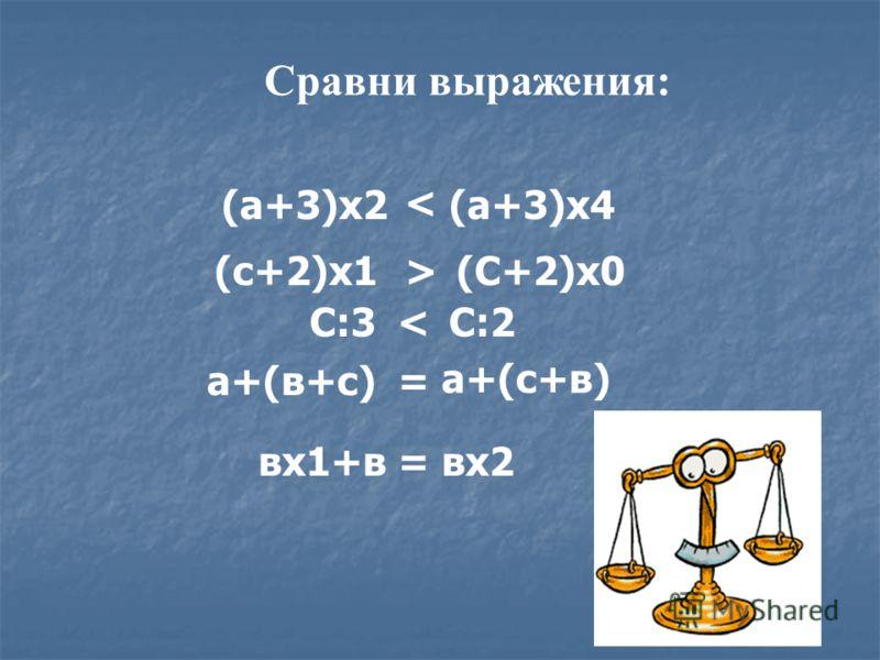 (а+3)х2(а+3)х4 < вх1+ввх2= С:3С:2< а+(в+с) а+(с+в) = (С+2)х0(с+2)х1> Сравни выражения: