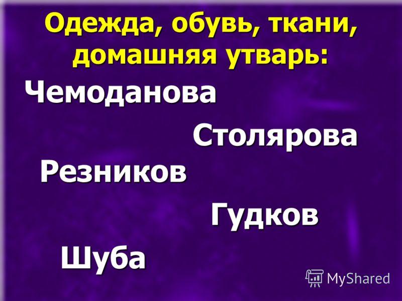 Одежда, обувь, ткани, домашняя утварь: Чемоданова Столярова Резников Столярова Резников Гудков Гудков Шуба Шуба