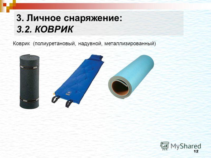 12 Коврик (полиуретановый, надувной, металлизированный) 3. Личное снаряжение: 3.2. КОВРИК
