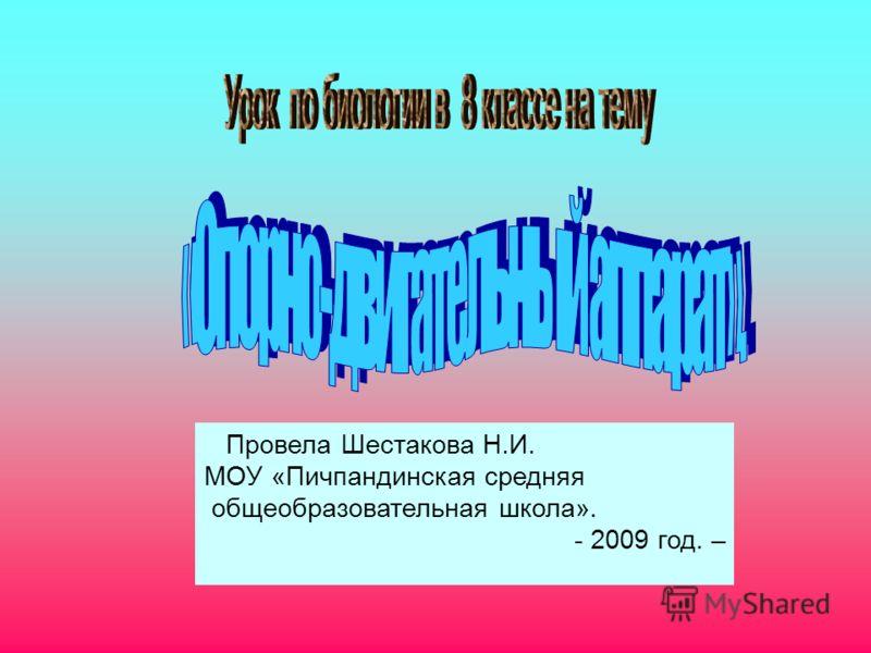 Провела Шестакова Н.И. МОУ «Пичпандинская средняя общеобразовательная школа». - 2009 год. –