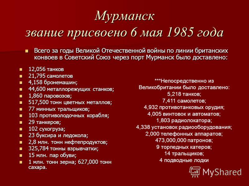 Мурманск звание присвоено 6 мая 1985 года 12,056 танков 12,056 танков 21,795 самолетов 21,795 самолетов 4,158 бронемашин; 4,158 бронемашин; 44,600 металлорежущих станков; 44,600 металлорежущих станков; 1,860 паровозов; 1,860 паровозов; 517,500 тонн ц