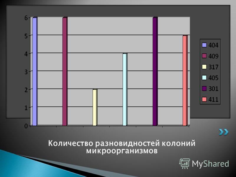 Количество разновидностей колоний микроорганизмов