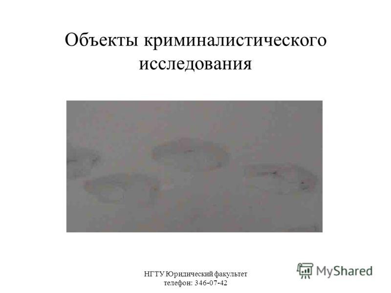 НГТУ Юридический факультет телефон: 346-07-42 Объекты криминалистического исследования