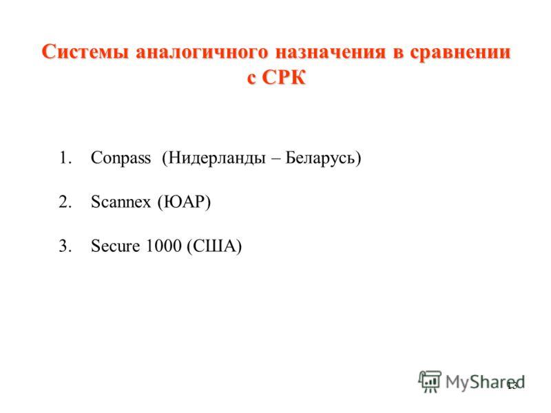 13 Системы аналогичного назначения в сравнении с СРК 1. Conpass (Нидерланды – Беларусь) 2. Scannex (ЮАР) 3. Secure 1000 (США)