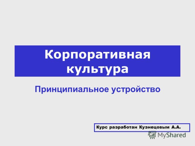 Корпоративная культура Принципиальное устройство Курс разработан Кузнецовым А.А.