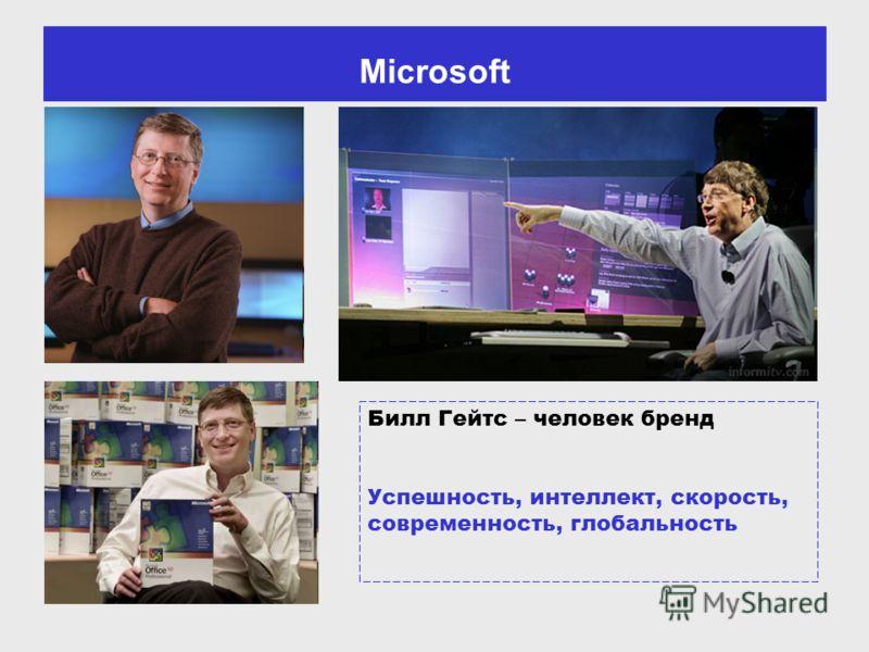 Microsoft Билл Гейтс – человек бренд Успешность, интеллект, скорость, современность, глобальность