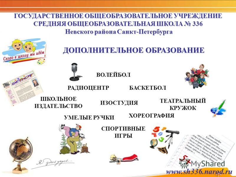 ГОСУДАРСТВЕННОЕ ОБЩЕОБРАЗОВАТЕЛЬНОЕ УЧРЕЖДЕНИЕ СРЕДНЯЯ ОБЩЕОБРАЗОВАТЕЛЬНАЯ ШКОЛА 336 Невского района Санкт-Петербурга ДОПОЛНИТЕЛЬНОЕ ОБРАЗОВАНИЕ УМЕЛЫЕ РУЧКИ ШКОЛЬНОЕ ИЗДАТЕЛЬСТВО ХОРЕОГРАФИЯ БАСКЕТБОЛ ВОЛЕЙБОЛ СПОРТИВНЫЕ ИГРЫ ТЕАТРАЛЬНЫЙ КРУЖОК РАДИ