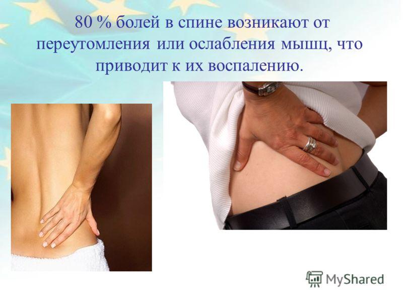 80 % болей в спине возникают от переутомления или ослабления мышц, что приводит к их воспалению.