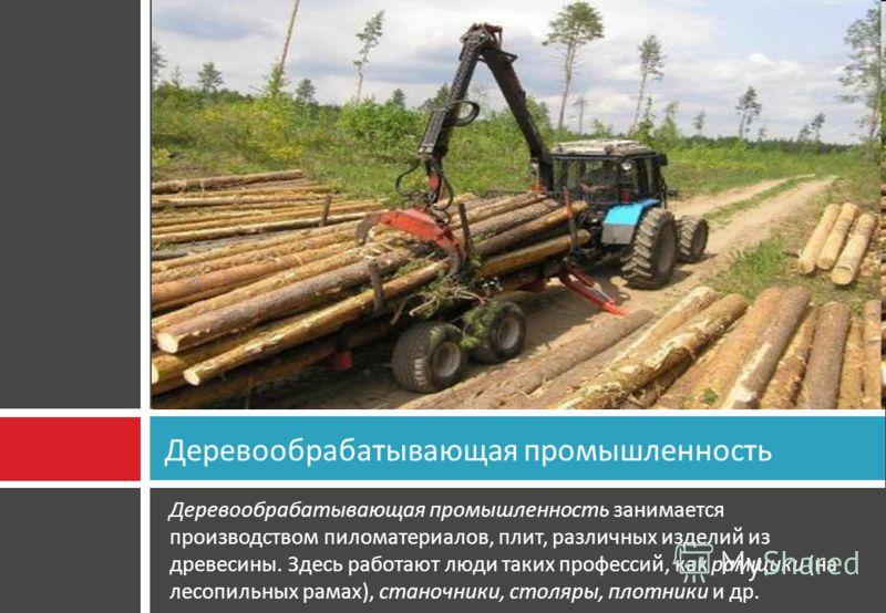 Деревообрабатывающая промышленность Деревообрабатывающая промышленность занимается производством пиломатериалов, плит, различных изделий из древесины. Здесь работают люди таких профессий, как рамщики (на лесопильных рамах), станочники, столяры, плотн