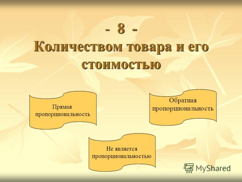 - 8 - Количеством товара и его стоимостью Прямая пропорциональность Обратная пропорциональность Не является пропорциональностью Прямая пропорциональность Обратная пропорциональность Не является пропорциональностью