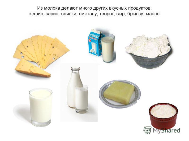 Из молока делают много других вкусных продуктов: кефир, аэрин, сливки, сметану, творог, сыр, брынзу, масло