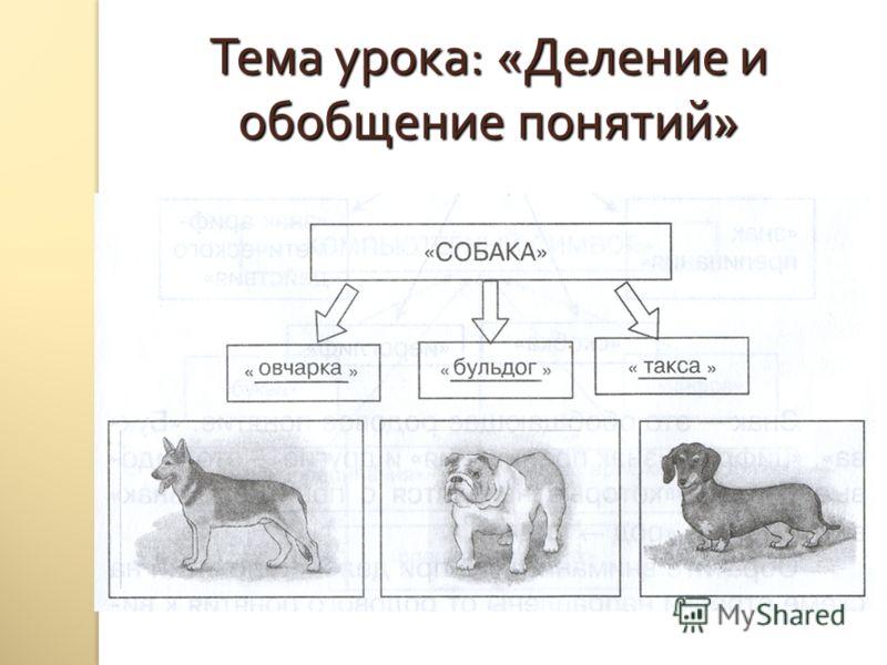 Тема урока : « Деление и обобщение понятий »