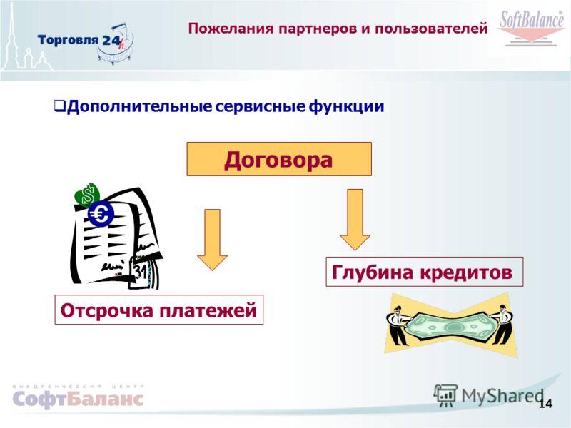 14 Пожелания партнеров и пользователей Дополнительные сервисные функции Договора Отсрочка платежей Глубина кредитов