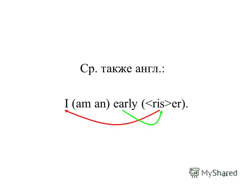 24 I (am an) early ( er). Ср. такжe англ.: