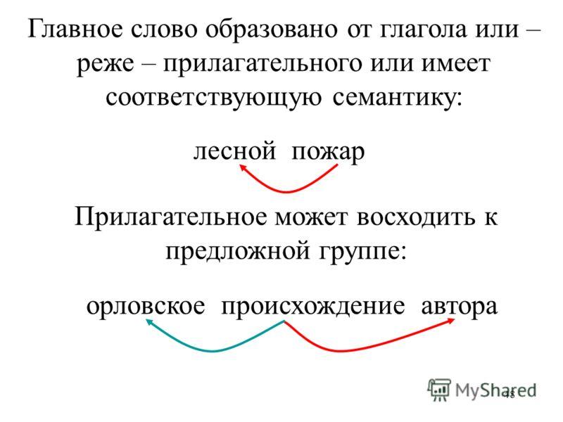 48 лесной пожар орловское происхождение автора Главное слово образовано от глагола или – реже – прилагательного или имеет соответствующую семантику: Прилагательное может восходить к предложной группе: