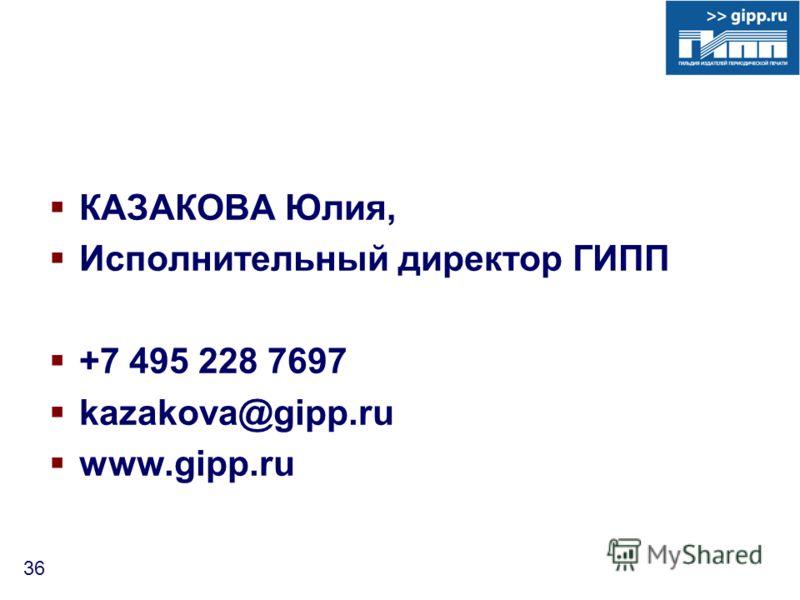 36 КАЗАКОВА Юлия, Исполнительный директор ГИПП +7 495 228 7697 kazakova@gipp.ru www.gipp.ru