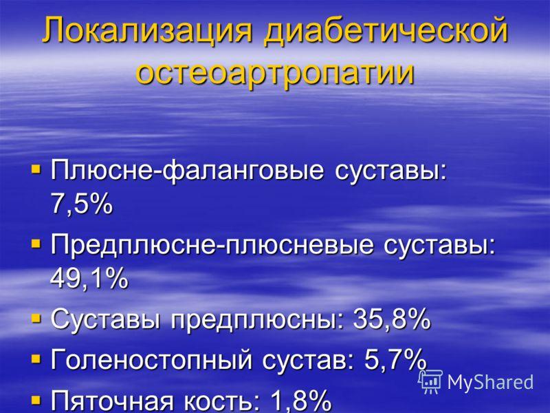 Локализация диабетической остеоартропатии Плюсне-фаланговые суставы: 7,5% Плюсне-фаланговые суставы: 7,5% Предплюсне-плюсневые суставы: 49,1% Предплюсне-плюсневые суставы: 49,1% Суставы предплюсны: 35,8% Суставы предплюсны: 35,8% Голеностопный сустав
