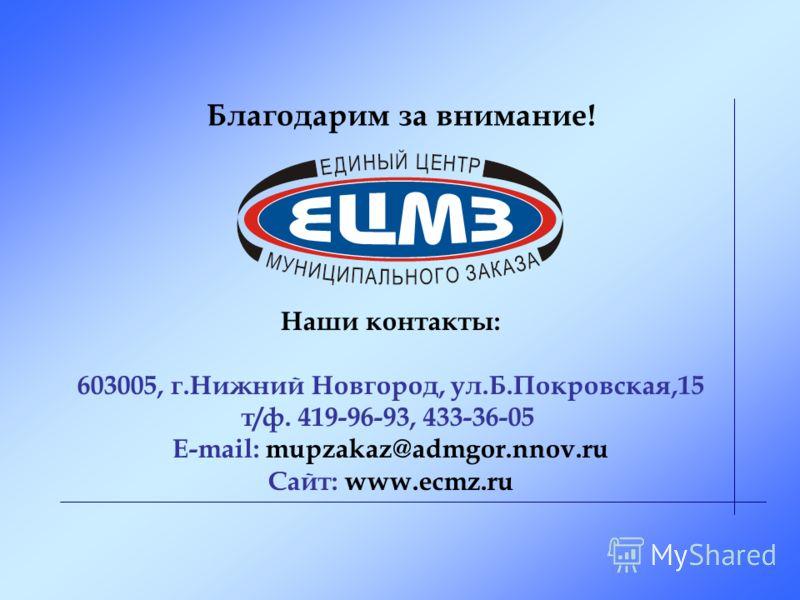 Наши контакты: 603005, г.Нижний Новгород, ул.Б.Покровская,15 т/ф. 419-96-93, 433-36-05 E-mail: mupzakaz@admgor.nnov.ru Сайт: www.ecmz.ru Благодарим за внимание!